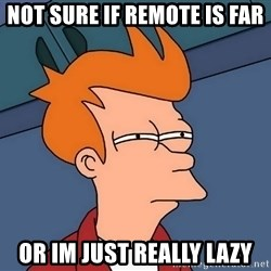 Futurama Fry - not sure if remote is far or im just reaLLY LAZY
