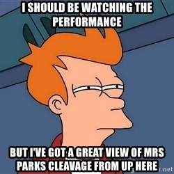 Futurama Fry - I should be watching the performance But i've got a great view of mrs parks cleavage from up here