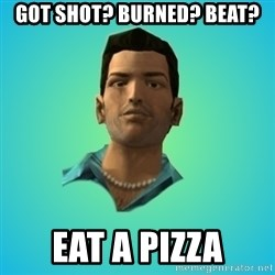 Terrible Tommy - got shot? burned? beat? eat a pizza