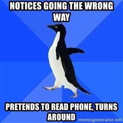 Socially Awkward Penguin - notices going the wrong way pretends to read phone, turns around