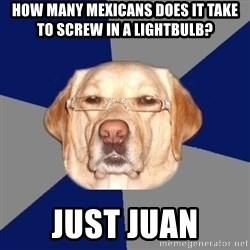 Racist Dawg - how many mexicans does it take to screw in a lightbulb? just juan