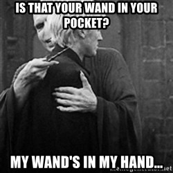 draco hugs voldemort - is that your wand in your pocket? my wand's in my hand...