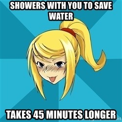 Horny Samus - showers with you to save water takes 45 minutes longer