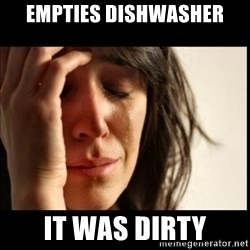 First World Problems - empties dishwasher it was dirty