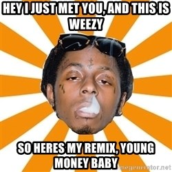 Lil Wayne Meme - hey i just met you, and this is weezy so heres my remix, young money baby