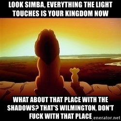 Simba - look simba, everything the light touches is your kingdom now what about that place with the shadows? that's wilmington, don't fuck with that place