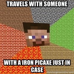 Minecraft Guy - Travels with someone With a iron picaxe just In case