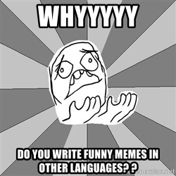 Whyyy??? - whyyyyy  do you write funny memes in other LANGUAGES? ?