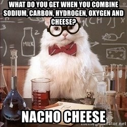 Science Cat - What do you get when you combine Sodium, Carbon, Hydrogen, Oxygen and cheese? NaCHO Cheese