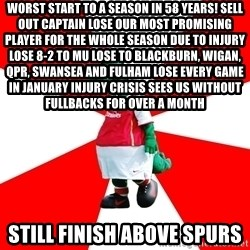 Arsenal Dinosaur - WORST START TO A SEASON IN 58 YEARS! SELL OUT CAPTAIN LOSE OUR MOST PROMISING PLAYER FOR THE WHOLE SEASON DUE TO INJURY LOSE 8-2 TO MU LOSE TO BLACKBURN, WIGAN, QPR, SWANSEA AND FULHAM LOSE EVERY GAME IN JANUARY INJURY CRISIS SEES US WITHOUT FULLBACKS FOR OVER A MONTH Still finish above spurs