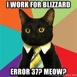 Business Cat - I work for blizzard error 37? meow?