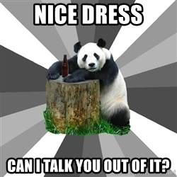 Pickup Line Panda - nice dress can i talk you out of it?
