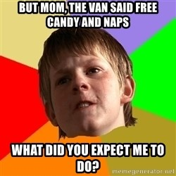 Angry School Boy - but mom, the van said free candy and naps what did you expect me to do?