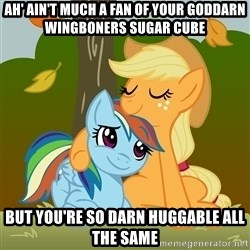 My Little Pony - Ah' ain't much a fan of your goddarn wingboners sugar cube but you're so darn huggable all the same
