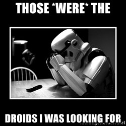 Sad Trooper - Those *were* the droids I was looking for