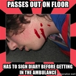 Dead Explorer - Passes out on floor has to sign diary before getting in the ambulance