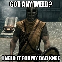 skyrim whiterun guard - got any weed? i need it for my bad knee