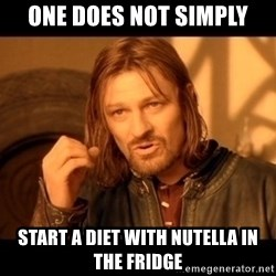 Lord Of The Rings Boromir One Does Not Simply Mordor - one does not simply start a diet with nutella in the fridge