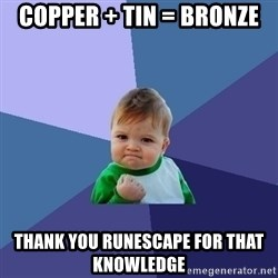 Success Kid - copper + tin = bronze thank you runescape for that knowledge