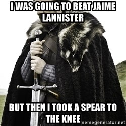 Ned Stark - I was going to beat jaime lannister but then i took a spear to the knee