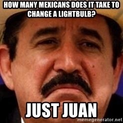 mexicanotriste - how many mexicans does it take to change a lightbulb? just juan