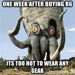 Motorcycling Squid  - One week after buying R6 Its too hot to wear any gear