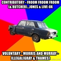 AdviceCar - Contributory - froom froom froom (& butcher)...jones & live-ox voluntary - morris and murray - Illegal(gray & thames)