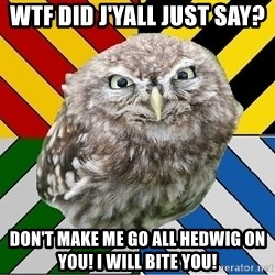 JEALOUS POTTEROMAN - wtf did j'yall just say? don't make me go all hedwig on you! i will bite you!