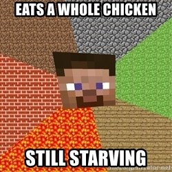Minecraft Guy - Eats a whole chicken still starving