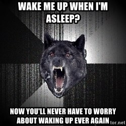 Insanity Wolf - Wake me up when I'm asleep? Now you'll never have to worry about waking up ever again