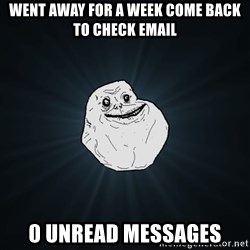 Forever Alone - went away for a week come back to check email 0 unread messages