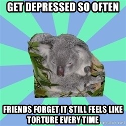 Clinically Depressed Koala - Get Depressed so often Friends forget it still feels like torture every time