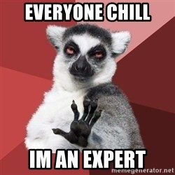 Chill Out Lemur - everyone chill im an expert