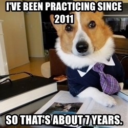 Dog Lawyer - I've been practicing since 2011 So that's about 7 years.
