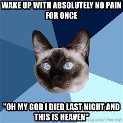 "Chronic Illness Cat - Wake up with absolutely no pain for once ""oh my god I died last night and this is heaven"""