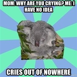 Clinically Depressed Koala -  Mom: why are you crying? Me: I have no idea CRIES out of nowhere