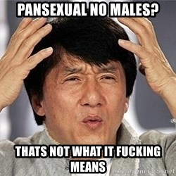 Confused Jackie Chan - Pansexual no males? thats not what it fucking means