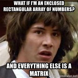 Conspiracy Keanu - What if i'm an enclosed rectangular array of numbers? and everything else is a matrix