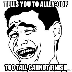 Yao Ming - tells you to alley-oop too tall cannot finish