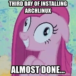 Crazy Pinkie Pie - third day of installing archlinux almost done...