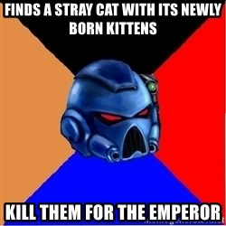 Harsh Spacemarine - finds a stray cat with its newly born kittens kill them for the emperor