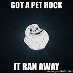 Forever Alone - got a pet rock it ran away