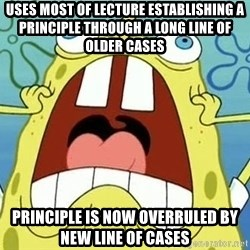 Enraged Spongebob - uses most of lecture establishing a principle through a long line of older cases  principle is now overruled by new line of cases