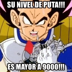 Vegeta - Su nivel de PUTA!!! ES MAYOR A 9000!!!