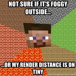 Minecraft Guy - Not sure if it's foggy outside... ...or my render distance is on tiny