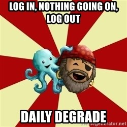 Puzzle Pirate - log in, nothing going on, log out daily degrade