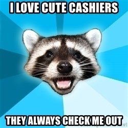 Lame Pun Coon - I love cute cashiers They always check me out