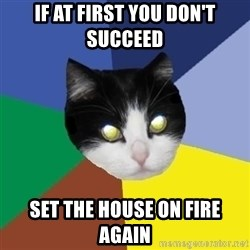 Winnipeg Cat - If at first you don't succeed set the house on fire again