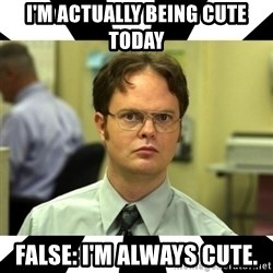 Dwight from the Office - I'm Actually being cute today False: I'm always cute.
