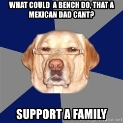 Racist Dog - What could  a bench do, that a mexican dad cant? Support a family